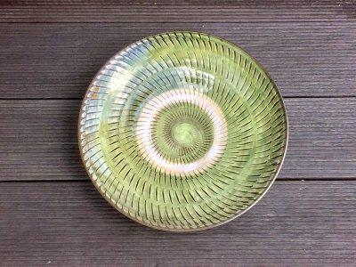 小鹿田焼 飛び鉋 緑 8寸皿(坂本工窯)