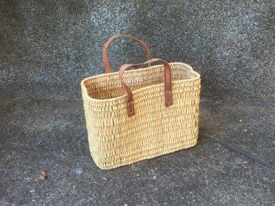 ストローカゴ 平革ハンドル 小 マルシェバッグ 収納用バスケット モロッコ製