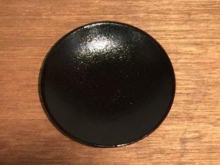 益子焼 道祖土和田窯 5寸皿 柚子肌黒
