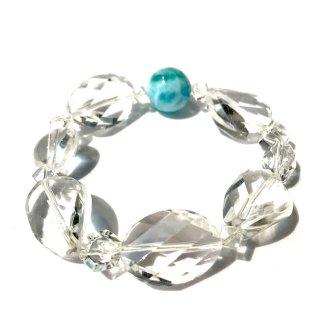 天然石ブレスレット*愛と安らぎ*18.5cm ラリマー・水晶
