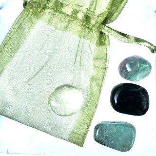 天然石ヒーリングセット  メディテーション(瞑想) 虹入りフローライト・希少シルバーシーンオブシディアン・水晶・カイヤナイト