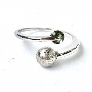 天然石指輪 ギベオン球形・モルダバイト丸形 フリーサイズ