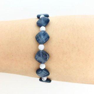 天然石ブレスレット*平穏・自己表現*17cm カイヤナイト・ブルーレースアゲート