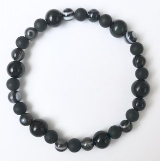 天然石アクセサリー ブレスレット 19cm ブラックスピネル・オニキス・天眼石