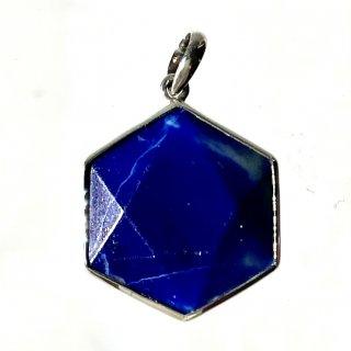天然石アクセサリーペンダント 六角形ラピスラズリ