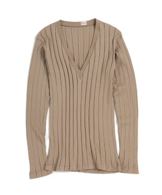 BROAD RIB V NECK LS