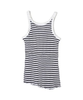 YOUNG & OLSEN STRIPE RANDOM RIB BACKWARDS TANKTOP