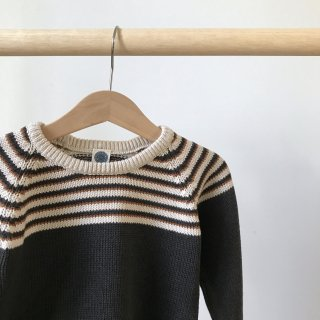 17aw Le Petit Germain MIRO Striped Sweater / Carbone