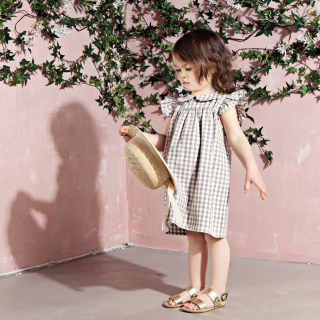 <img class='new_mark_img1' src='//img.shop-pro.jp/img/new/icons14.gif' style='border:none;display:inline;margin:0px;padding:0px;width:auto;' />18ss Bebe Organic LOUISE DRESS / Gingham Taupe