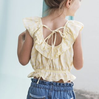 <img class='new_mark_img1' src='https://img.shop-pro.jp/img/new/icons14.gif' style='border:none;display:inline;margin:0px;padding:0px;width:auto;' />19ss tocoto vintage Vichy squares blouse with ruffled low neckline back / Yellow