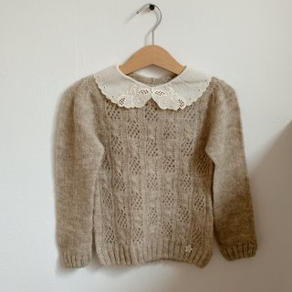 <img class='new_mark_img1' src='https://img.shop-pro.jp/img/new/icons14.gif' style='border:none;display:inline;margin:0px;padding:0px;width:auto;' />tocoto vintage - Open-work knit sweater with embroidery collar / Beige