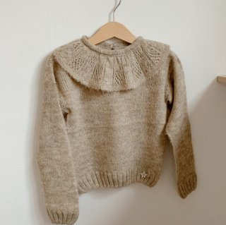 <img class='new_mark_img1' src='https://img.shop-pro.jp/img/new/icons14.gif' style='border:none;display:inline;margin:0px;padding:0px;width:auto;' />tocoto vintage - Knitted sweater with embroidered flounces / Beige