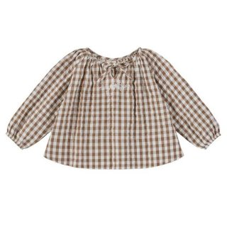 <img class='new_mark_img1' src='https://img.shop-pro.jp/img/new/icons14.gif' style='border:none;display:inline;margin:0px;padding:0px;width:auto;' />Little Cotton Clothes - Olive blouse / gingham with embroidery