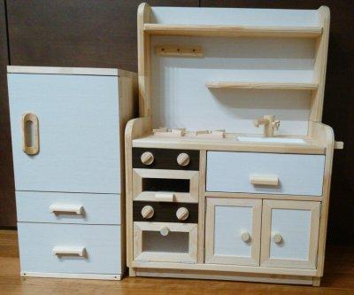 ままごとキッチン・冷蔵庫セット (ホワイト)