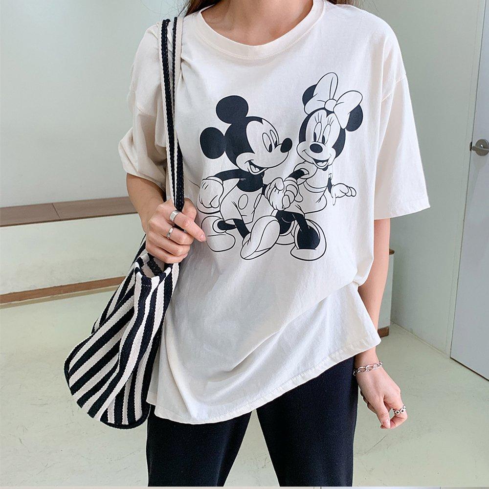 【すぐ発商品】大人服)モノクロミキミニTシャツ