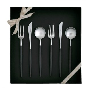 クチポール GOA デザート6点セット 化粧箱入り (デザートナイフ・フォーク・スプーン 各2本) ブラック マットシルバー