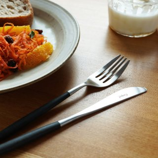 クチポール MIO ディナー2点セット(ディナーナイフ・フォーク各1本) ブラック マットシルバー
