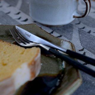 クチポール MIO デザート2点セット(デザートナイフ・フォーク 各1本) ブラック マットシルバー