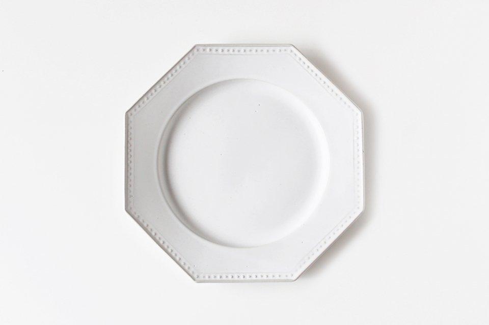 吉田健宗/白釉/オクトゴナル丸皿(大・23cm)