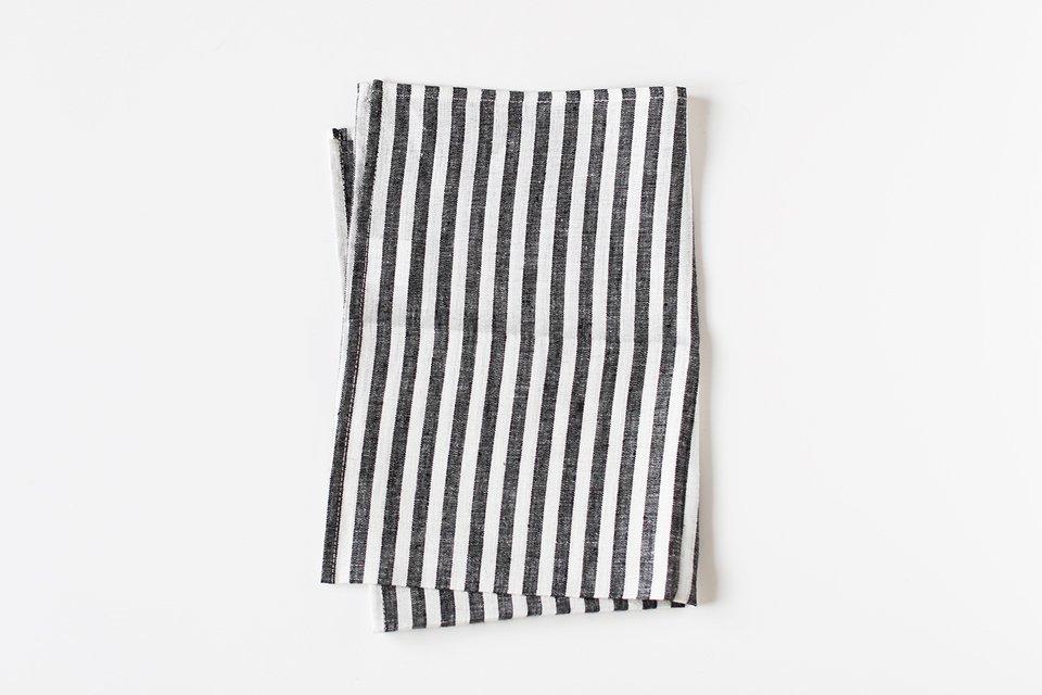 fog linen work/リネンキッチンクロス/ストライプ(ブラック)