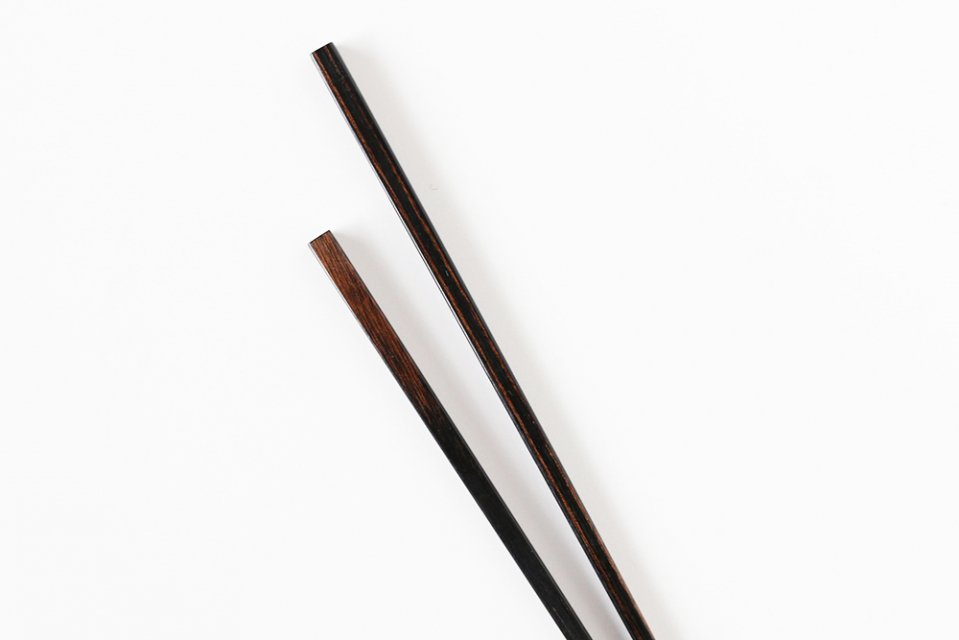 秋田の極細箸/黒(墨味)