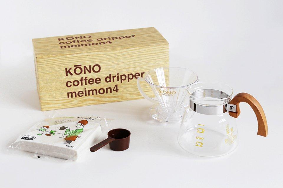 KONO式コーヒードリッパーセット/4人用/ウッドハンドル(桜)