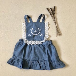 <img class='new_mark_img1' src='//img.shop-pro.jp/img/new/icons14.gif' style='border:none;display:inline;margin:0px;padding:0px;width:auto;' />tocoto vintage「Chambray Embrodery Baby Dress (Blue) 18m 2y」2018-SS