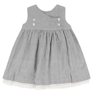 <img class='new_mark_img1' src='//img.shop-pro.jp/img/new/icons14.gif' style='border:none;display:inline;margin:0px;padding:0px;width:auto;' />Little Cotton Clothes「Aida Pinafore Dress (Grey Stripe) 18m-2y-3y-4y」2018-SS