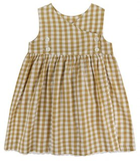 <img class='new_mark_img1' src='//img.shop-pro.jp/img/new/icons14.gif' style='border:none;display:inline;margin:0px;padding:0px;width:auto;' />Little Cotton Clothes「Aida Pinafore Dress (Mastard GIngham) 18m-2y-3y-4y」2018-SS