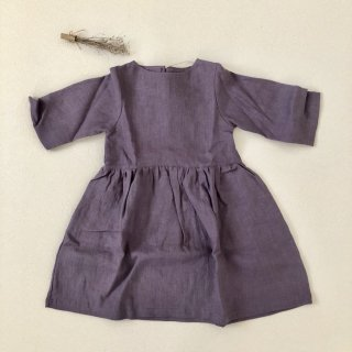 <img class='new_mark_img1' src='//img.shop-pro.jp/img/new/icons14.gif' style='border:none;display:inline;margin:0px;padding:0px;width:auto;' />Simply Grey Life「Girl's linen dress 3/4 sleeves (dusty purple) 18m-2y-3y-4y」