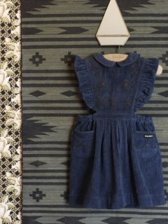 <img class='new_mark_img1' src='//img.shop-pro.jp/img/new/icons14.gif' style='border:none;display:inline;margin:0px;padding:0px;width:auto;' />BONJOUR DIARY 「Apron dress with Embroidery (denim blue) 2y 4y 6y」2018-AW