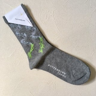 POTTENBURN TOHKII「KAMINARI SOCKS (GRAY)」