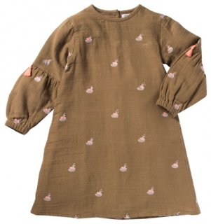 <img class='new_mark_img1' src='//img.shop-pro.jp/img/new/icons14.gif' style='border:none;display:inline;margin:0px;padding:0px;width:auto;' />BONHEUR DU JOUR「Cygne Embroidered Dress (ocre) 2y 4y」2018-AW