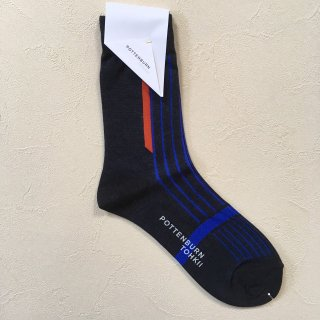<img class='new_mark_img1' src='//img.shop-pro.jp/img/new/icons14.gif' style='border:none;display:inline;margin:0px;padding:0px;width:auto;' />POTTENBURN TOHKII「STRIPE SOCKS (BLACK)」