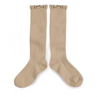 Collegien「Josephine Lace Trim Knee High Socks - Petite Taupe」