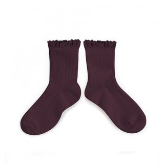 Collegien「Lili Lace Trim Ankle Socks - Aubergine」