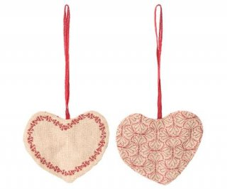 Maileg「Fabric Ornament Heart set」