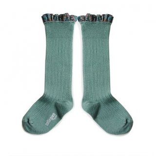 Collegien「Elisabeth Liberty Ruffle High Socks - Celadon」