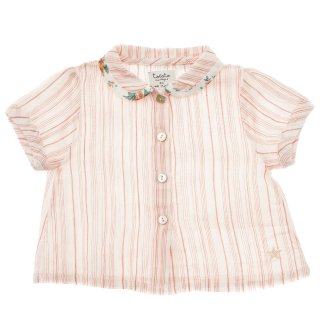 <img class='new_mark_img1' src='//img.shop-pro.jp/img/new/icons14.gif' style='border:none;display:inline;margin:0px;padding:0px;width:auto;' />tocoto vintage「Striped blouse with flower print on collar hem (Salmon)」2020-SS