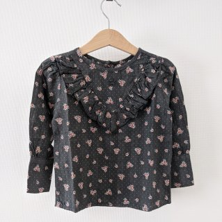 <img class='new_mark_img1' src='//img.shop-pro.jp/img/new/icons14.gif' style='border:none;display:inline;margin:0px;padding:0px;width:auto;' />tocoto vintage「Flower print blouse with ruffles (Dark Brown)」2020-AW