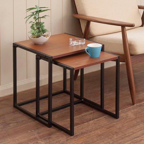 木製天板×スチール ネストテーブル(大小2個セット)ダークブラウン スチール家具 アイアン シンプル カジュアルスタイル サイドテーブル …