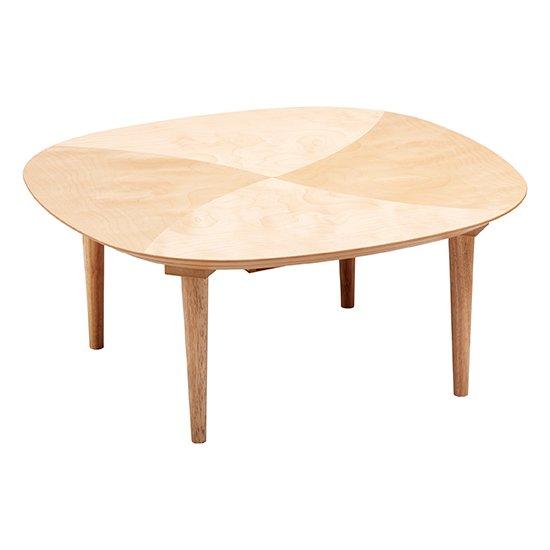 POLU ポル 90 ほぼ丸型こたつテーブル サクラ ねじ込み脚 ヒーター付き ナチュラルなツートーン 可愛いミニこ…