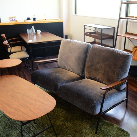 スチール2Pソファ 二人掛けの異素材使用ソファ 木材とスチール 天然木ウォールナット使用 ブラック ミッドセンチュリー 北欧テイスト アイアン家具