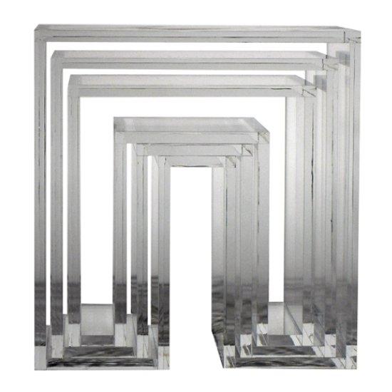 abode SHOJI  ネストテーブル (3個セット)クリア (アクリル) デザイナーズインテリア デザイナーズ お洒落なテーブルです。 ユニークで個性的なネスティングテーブルで…