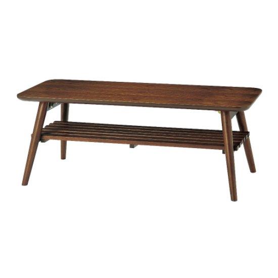 天然木 レトロ調 センターテーブル 折り畳みタイプ (コーヒーテーブル /ソファテーブル)ブラウン 幅100c…