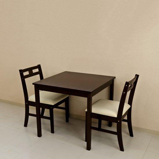 オープニングセール品 ダイニングテーブル 75 シンプルなデザイン 3点セット 一人~二人暮らし向き 天然木 正方形食卓テー…