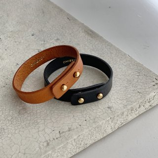 double leather bangle † black and camel