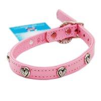 犬用 首輪 革 レザー カラー Rockin' Doggy ロッキンドギー ピンク&ハート 海外直輸入