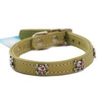 犬用 首輪 革 レザー カラー Rockin' Doggy ロッキンドギー グリーン&スカルボーン 海外直輸入