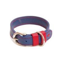 犬用 首輪 革 わいろ オリジナル スムース カラー ステッチ 群青+赤 日本製